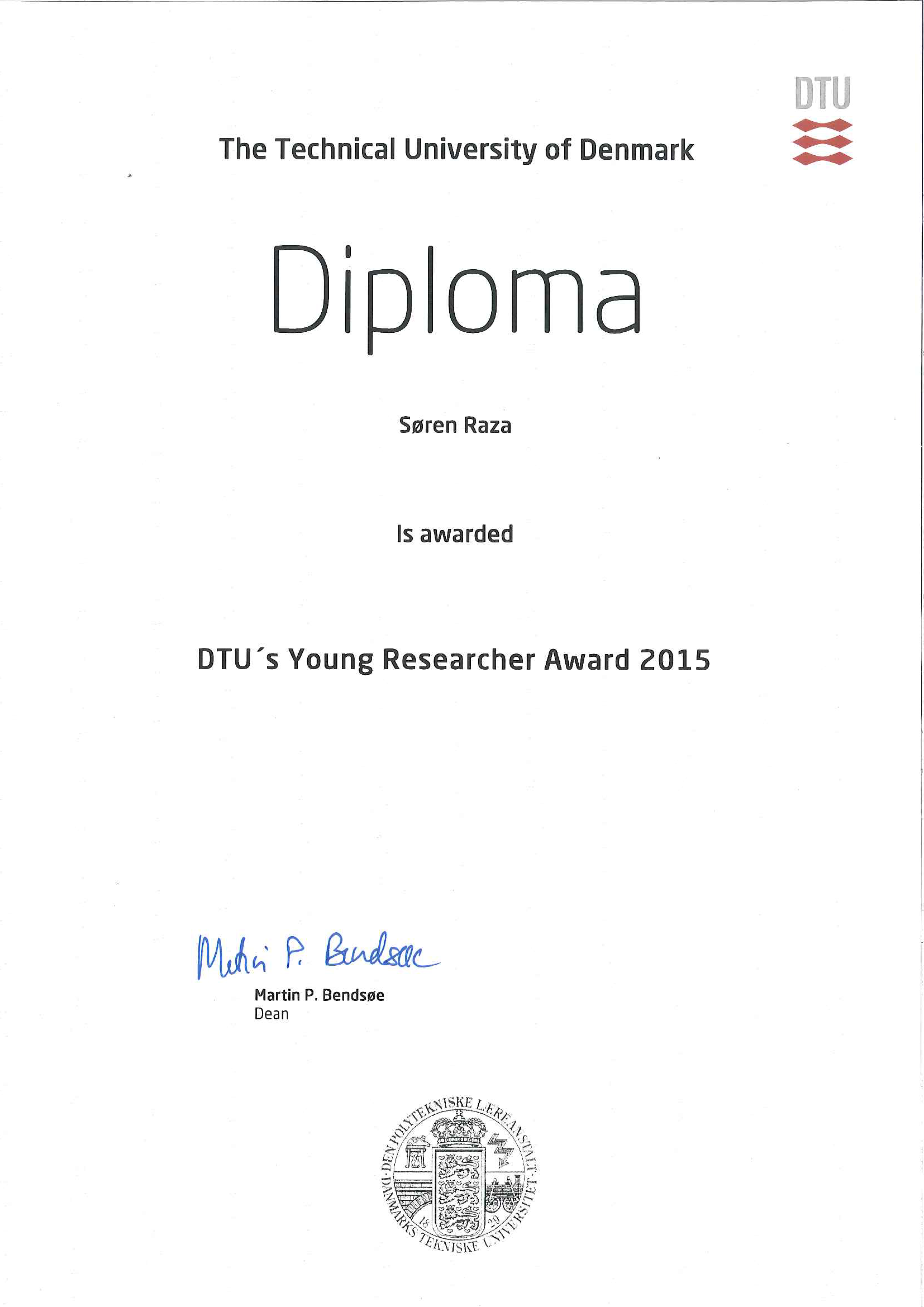 Diploma of the Young Researcher Award from DTU.